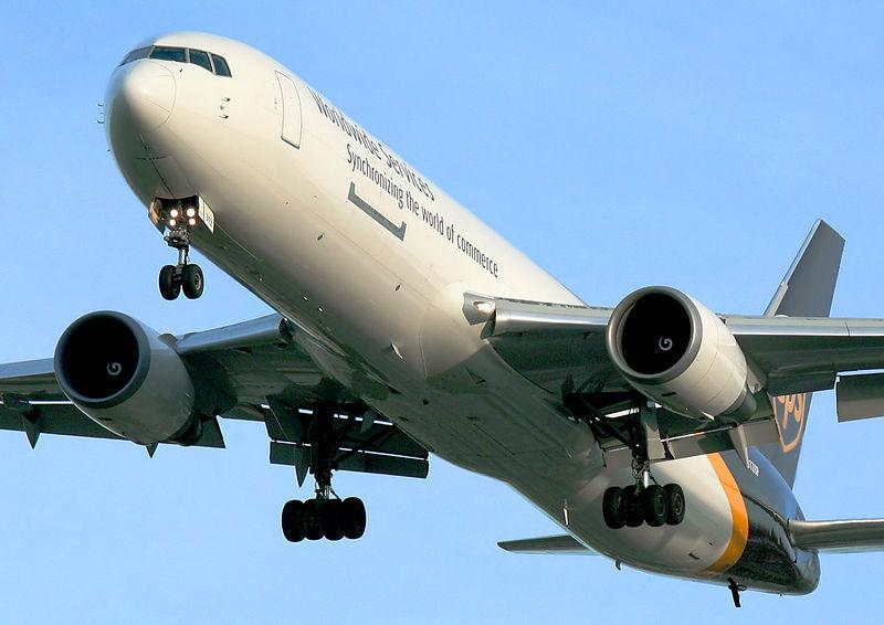 UPS Boeing 767. Final approach to San Jose International.