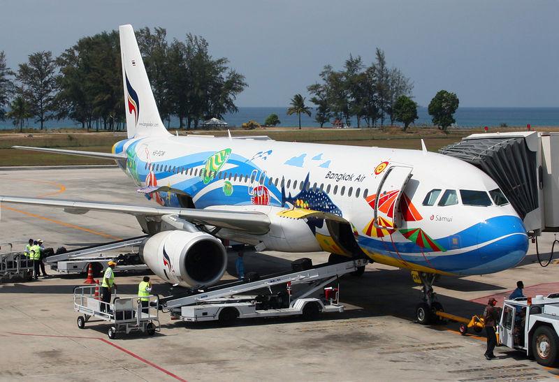 Bankok Air A320 just arrived at Phuket, Thailand from Bangkok.