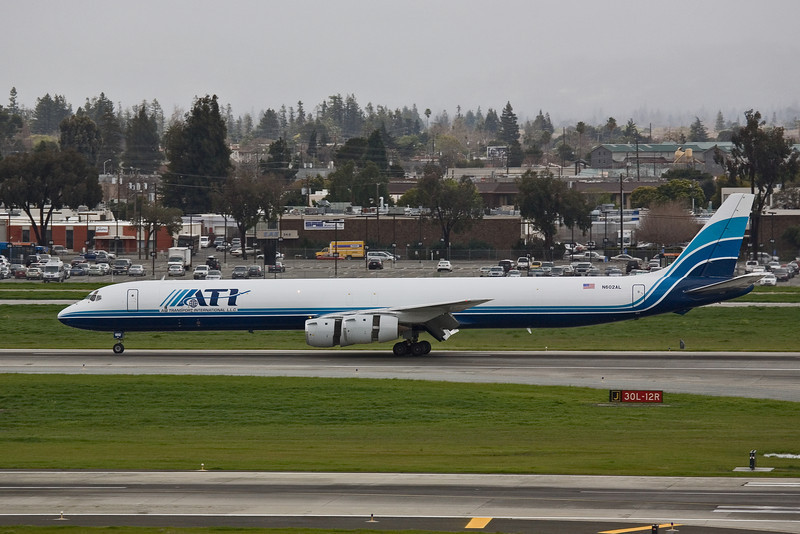 ATI Douglas DC-8-73F  N602AL just touched down. Thrust reverser deployed as it slows down.