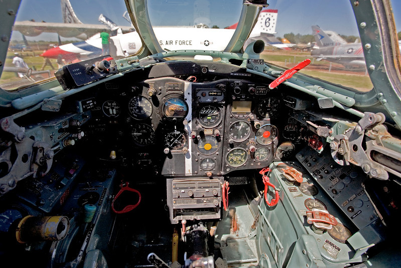 The cockpit of a Mig-17 on display at the Castle Air Museum, Atwater, California.