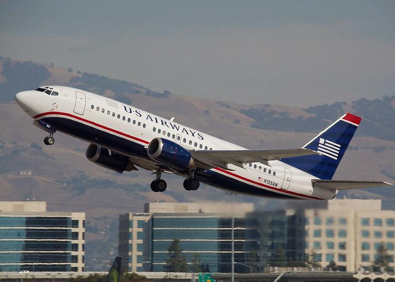 US Airways Boeing 737 departing from San Jose CA KSJC<br /> Registration N155AW