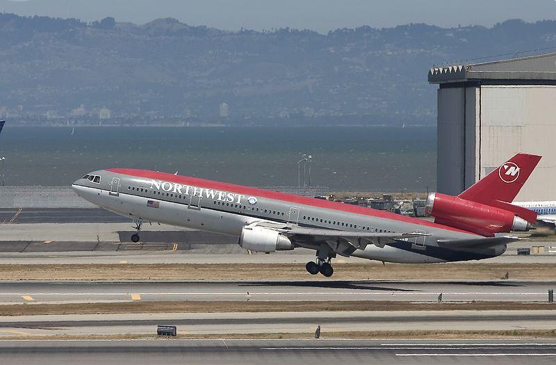 Northwest flight 027 departs from San Francisco for Narita, Japan.