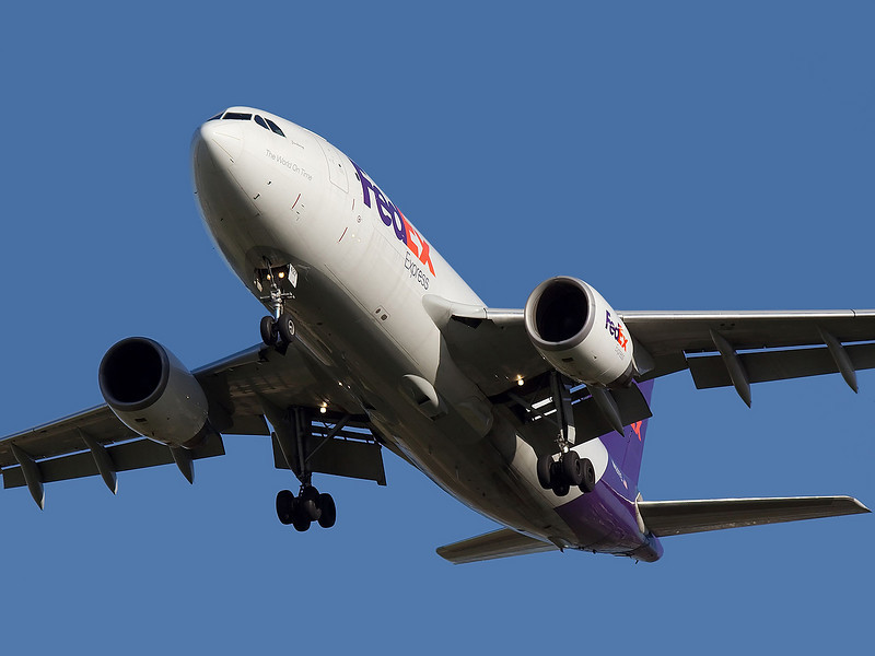 FedEx Airbus A310 landing at San Jose, CA. KSJC