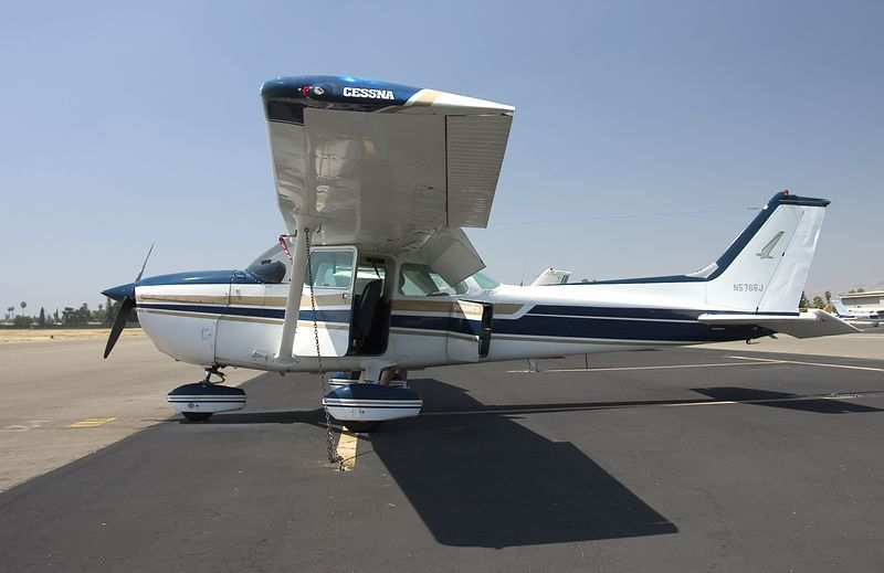 N5766J, a Cessna 172 during a preflight inspection.