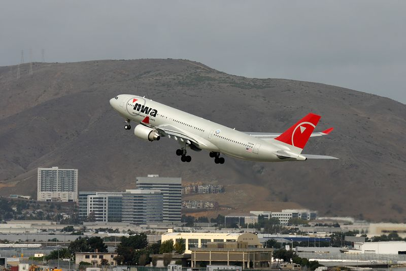 Northwest AIrlines  A330 departing from San Francisco (KSFO) for Tokyo.