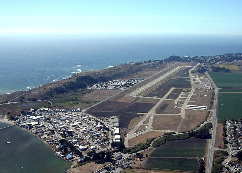 Halfmoon Bay Airport (HAF) as seen on a down wind departure from runway 30.