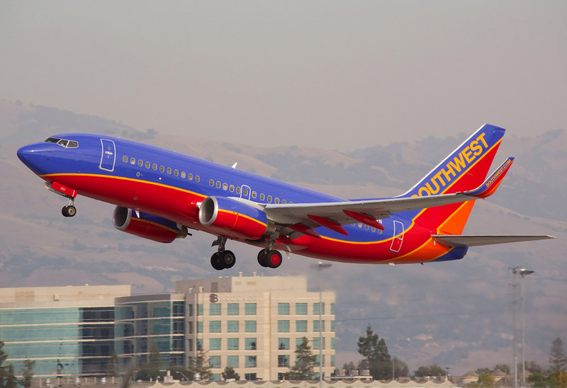 Southwest Airlines Boeing 737 on takeoff from San Jose International.
