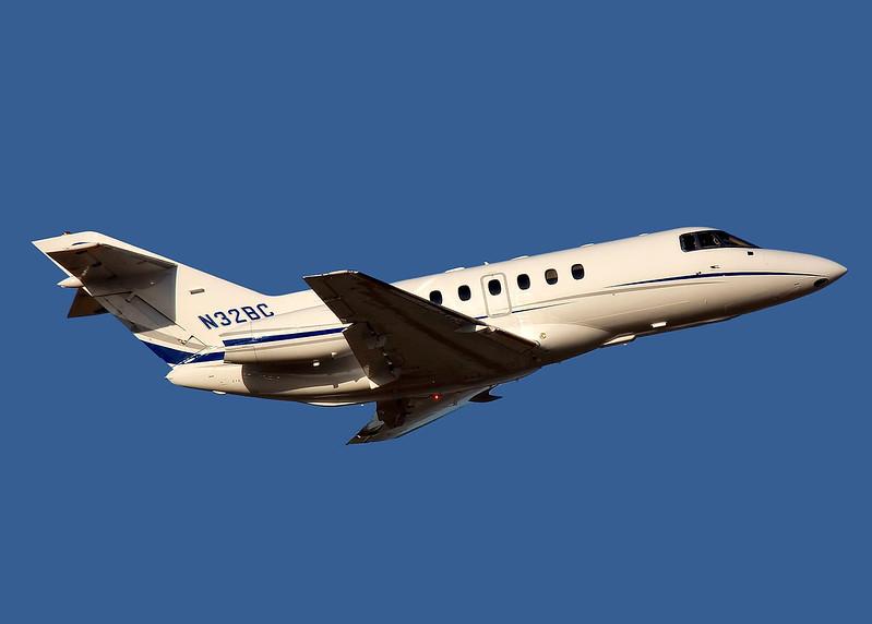 A Hawker 800XP business jet, N32BC, departing from KSHC, San Jose California.
