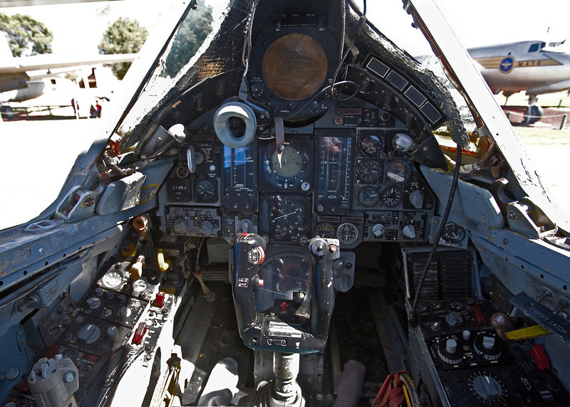 The cockpit of a Convair F-106 Delta Dart on display at the Castle Air Museum, Atwater California.