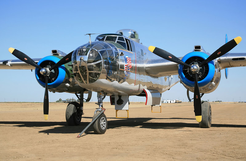"B-25 Mitchell WWII bomber. ""Old Glory"""