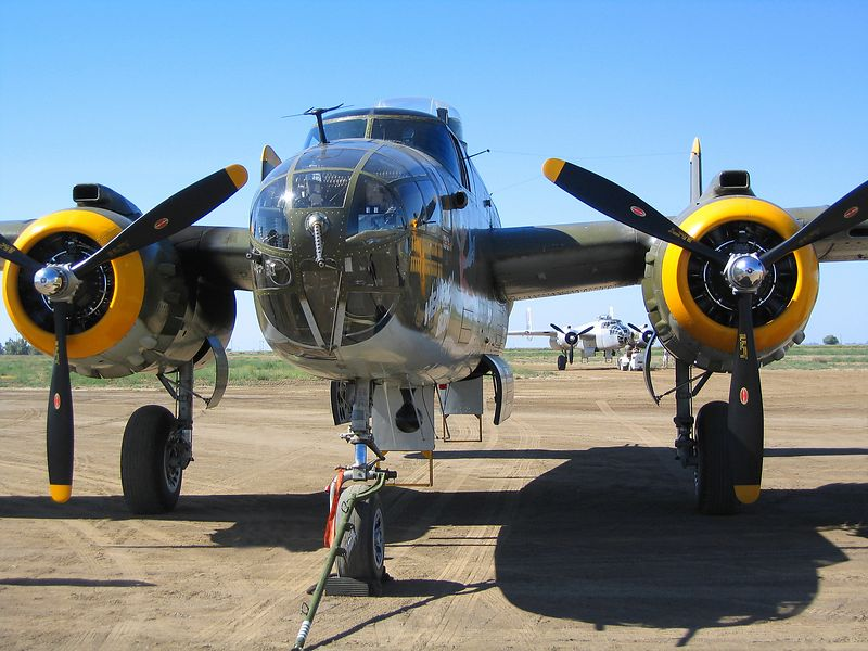 "North American B-25J Mitchell ""Heavenly Body"".<br /> The other B-25J in background is ""Pacific Princess""."