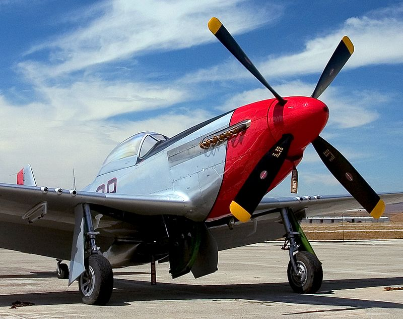"""Noth American P-51 Mustang.  Registration N72FT.  Known as """"Iron Ass"""".  Hollister, Califronia."""