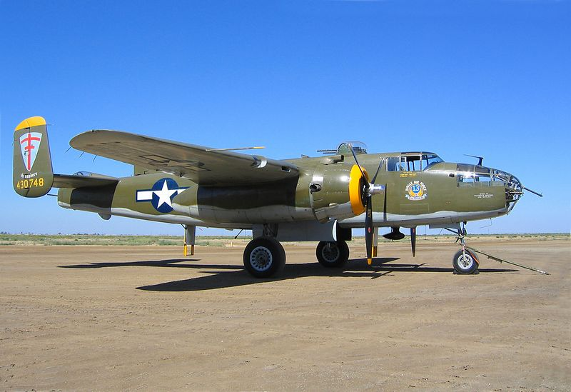 "North American B-25J Mitchell ""Heavenly Body"" at the 2004 Eagle Field Fly-in.  Eagle Field is near Dos Palos, California."
