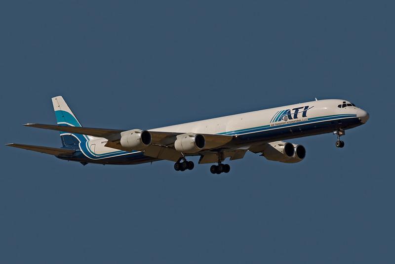ATI DC8 N606AL on final approach for landing at San Jose KSJC.