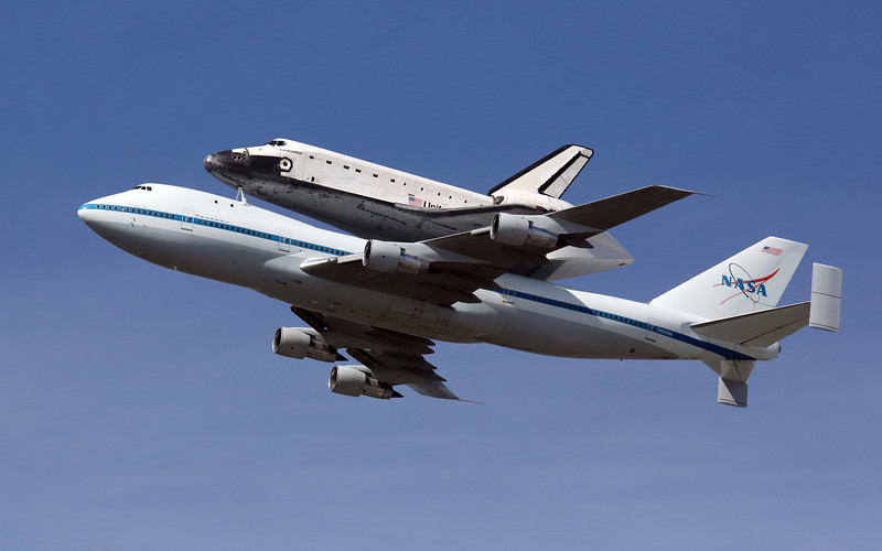 Space Shuttle Endeavour over Moffett Federal Air Filed