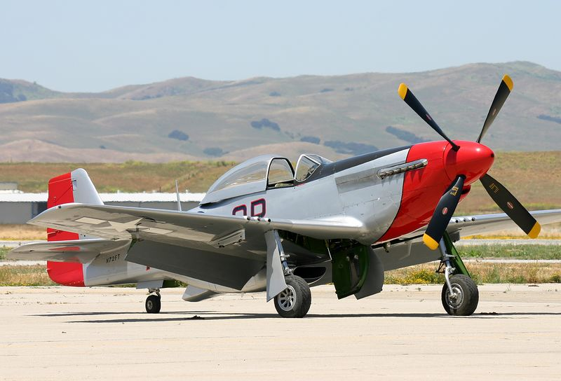 """P-51 """"Iron Ass"""" parked on the ramp at Hollister California in May of 2005."""