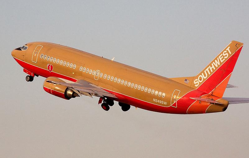Southwest Airlines Boeing 737 on takeoff from San Jose International. Registration N349SW