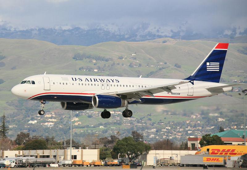 US AIrways A320 landing at San Jose, California (KSJC). Registration N680AW