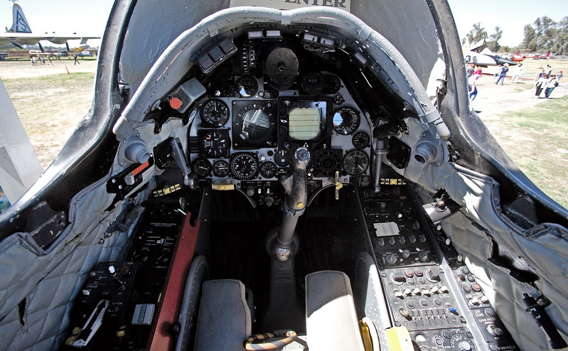 The cockpit of a A-4 Skyhawk on display at the Castle Air Museum