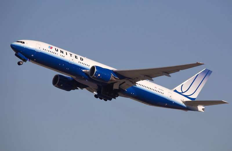 United Airlines Boeing 777 departing from SFO.