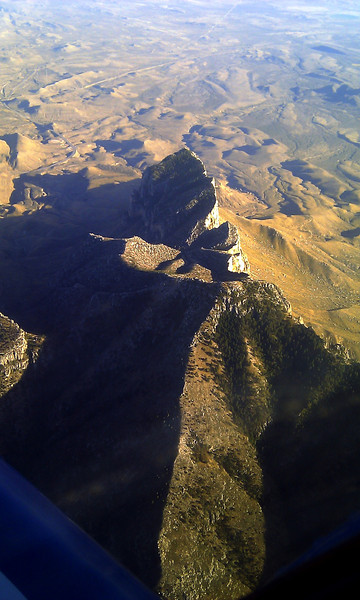 Guadalupe Peak from 11,000 ft.  Flying in the Ercoupe.