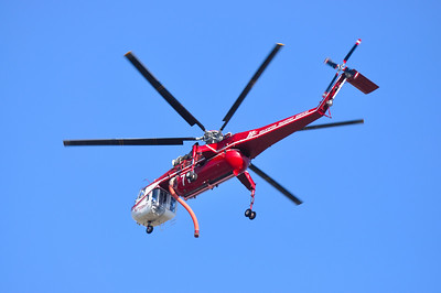 A Fire Fighting Chopper returning to Fresno Yosemite Airport.