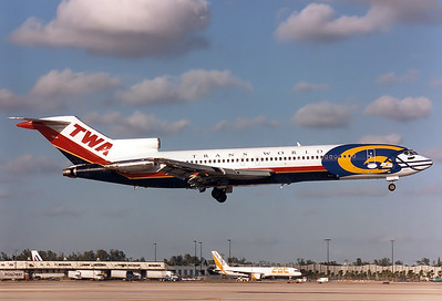 Boeing 727-231 Trans World Airlines - TWA REG: N64347 | CODE: 4347  Miami - Intl. (Wilcox Field / 36th Str.) (MIA / KMIA) Florida, USA November 1996 St.Louis Rams NFL colours