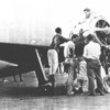 A crew of Howard Hughes working on the Hughes H1 Racer