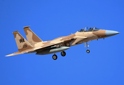 Las Vegas, Nellis AFB, January 25th, 2007,  85-0131	 McDonnell Douglas F-15D Eagle  MSN 0945/D055.  57th ATG/65th AS) crashed on Nevada Test and Training Range after takeoff from Nellis AFB for combat training mission Jul 30, 2008. 	1 killed, 1 injured.  Cause of accident was pilot momentarily exceeding maneuvering limitation when fuel remained in external tanks, which led to loss of control.