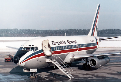 Britannia Airways Boeing 737-204 Reg.: G-AVRM MSN: 19710 Line No.: 54  Nuremberg (NUE / EDDN) Germany - December 19, 1976           Another ski charter diversion flight due to fog at Munich-Riem. This a/c was damaged beyond repair during a landing accident at Tucson Int., AZ., in December 1989.