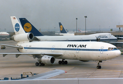 Pan American World Airways - Pan Am McDonnell Douglas DC-10-30 	 Frankfurt am Main (Rhein-Main AB) (FRA / EDDF) Germany, August 2, 1981   N80NA (cn 46711/105) Taxiing wingtip to wingtip to its gate on a busy morning at FRA. Sadly written off April 14, 1993, with AA at DFW.