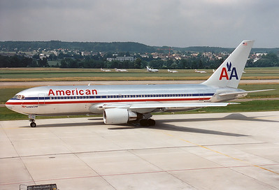 This aircraft (as flight AA11) was deliberately crashed into the World Trade Center building 1 in New York on September 11, 2001 after being hijacked by terrorists.   Boeing 767-223/ER American Airlines REG: N334AA  Zurich (-Kloten) (ZRH / LSZH) Switzerland June 1995