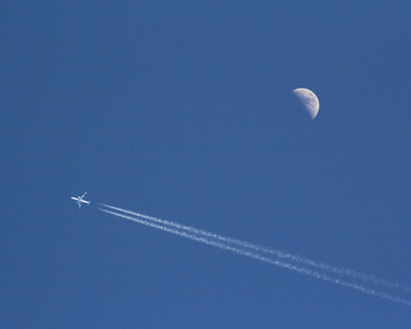 Airliner with con trail and Moon. No photoshop tricks used here. Picture is composed as it was taken in the camera with a 8 x 10 crop.