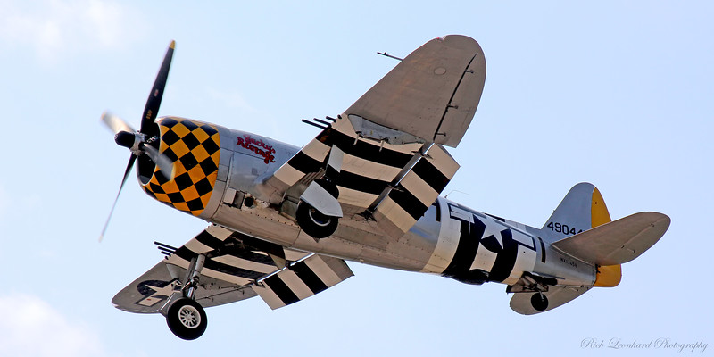 P-47 Thunderbolt on final approach to land at Republic Airport.