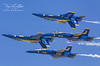 Blue Angels in Tight Formation with 1 & 4 Inverted