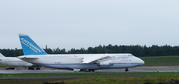 7/4/07 - This huge cargo aircraft - a Russian-built Antonov 124-100, sits on the apron at Anchorage International Airport.
