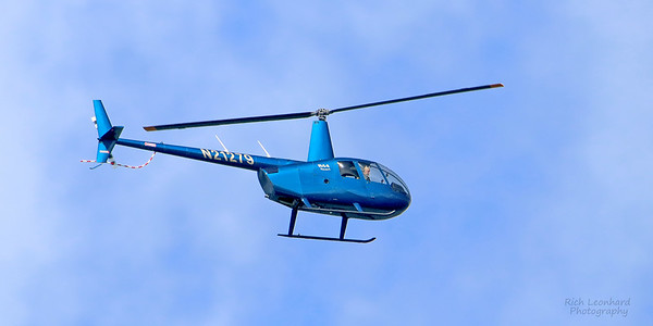 Helicopter flying near Wave Hill, Bronx, NY.
