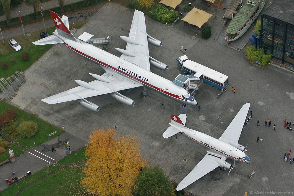 HB-ICC CV990 and HB-IRN DC-3 Swissair @ Luzern Switzerland 11Oct02