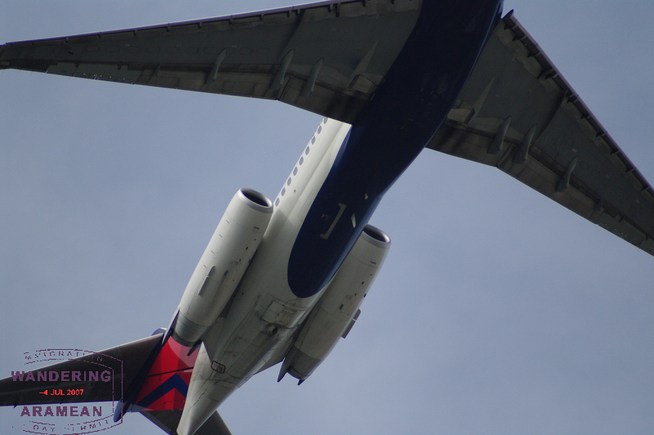 A Delta jet headed out from LaGuardia over CitiField