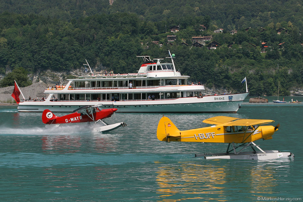 I-BUFF Piper PA-18 and G-WATR Christen Husky @ Boenigen Switzerland 1Jul07