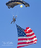 SOCOM Parachute Jump Team Member with American Flag at Sun n' Fun 2017
