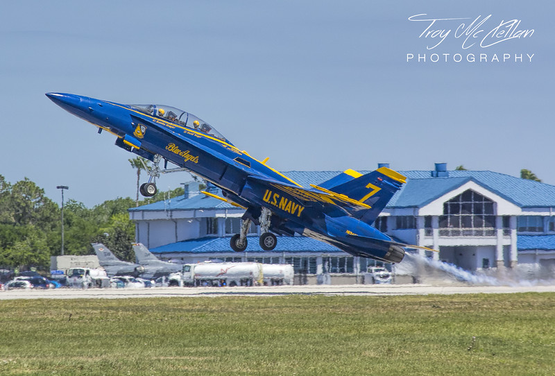Blue Angel 7 Punishes the Tarmac on Takeoff at Sun n' Fun 2017