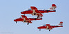 "Canadian ""Snowbirds"" precision flying team in landing formation on final approach."