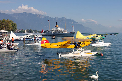 HB-PMN Piper PA18-150 and DHC-2 Beaver @ Vevey Switzerland 3Sep10