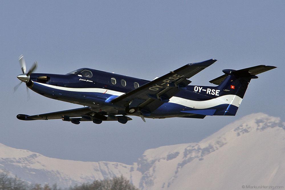 OY-RSE Pilatus PC-12/47E Fournais Aviation @ Sion Switzerland 11Feb12