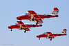 "Canadian precision flying team. The ""Snowbirds"", in landing formation on final approach."