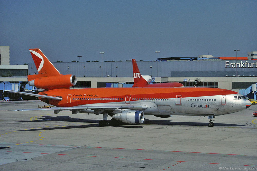 C-GCPD DC-10 Canadian @ Frankfurt Germany 9Sep88 - ex CP Air livery