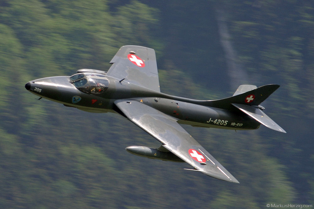 HB-RVP Hawker Hunter T68 @ Gruyeres Switzerland 13Jun03