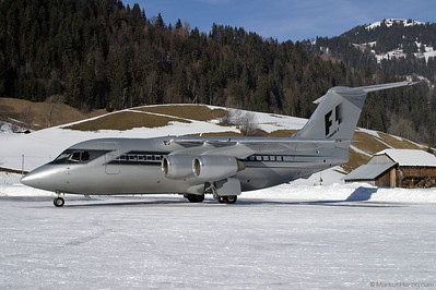 G-OFOA BAe146-100 Formula 1 Management @ Saanen Switzerland 14Feb04