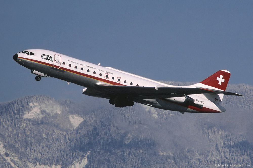 HB-ICO SE210 Caravelle CTA @ Geneva Switzerland 13Feb88